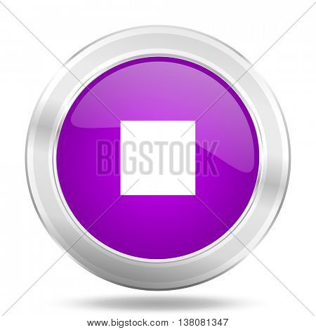 stop round glossy pink silver metallic icon, modern design web element