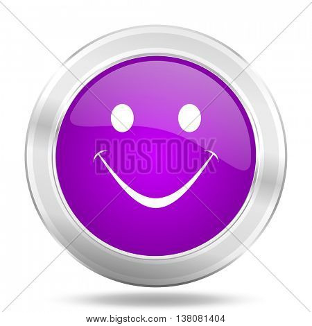 smile round glossy pink silver metallic icon, modern design web element