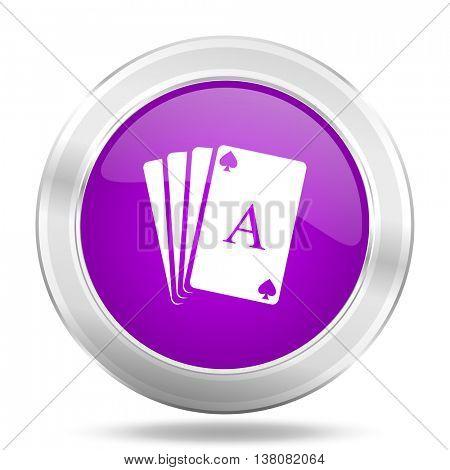 card round glossy pink silver metallic icon, modern design web element