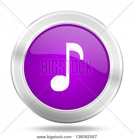 music round glossy pink silver metallic icon, modern design web element