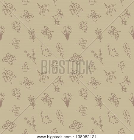 Herbs tea cups and pots seamless pattern