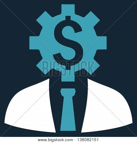 Office Worker vector icon. Style is bicolor flat symbol, blue and white colors, dark blue background.