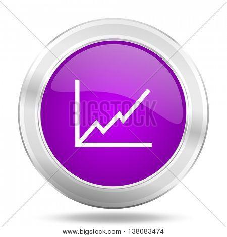 chart round glossy pink silver metallic icon, modern design web element