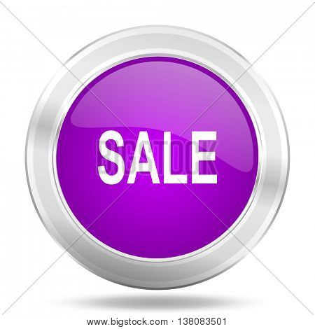 sale round glossy pink silver metallic icon, modern design web element
