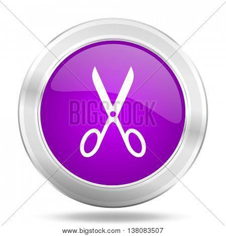 scissors round glossy pink silver metallic icon, modern design web element