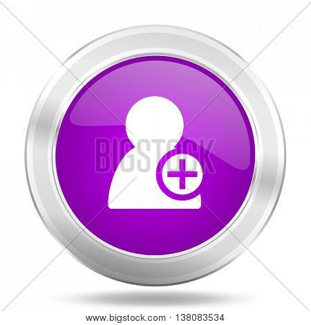 add contact round glossy pink silver metallic icon, modern design web element