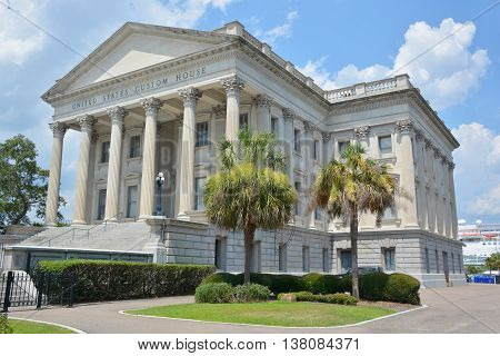 CHARLESTON SC USA 06 24 2016: U.S. Custom House. Construction began in 1853 but was interrupted in 1859 due to costs and the possibility of South Carolina's secession from the Union.