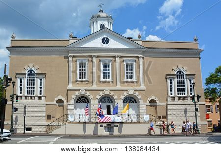 CHARLESTON SC USA 06 24 2016: Old Exchange & Provost Dungeon or Custom House, and The Exchange, is a historic building. It is now a museum operated by the Daughters of the American Revolution.