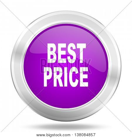 best price round glossy pink silver metallic icon, modern design web element