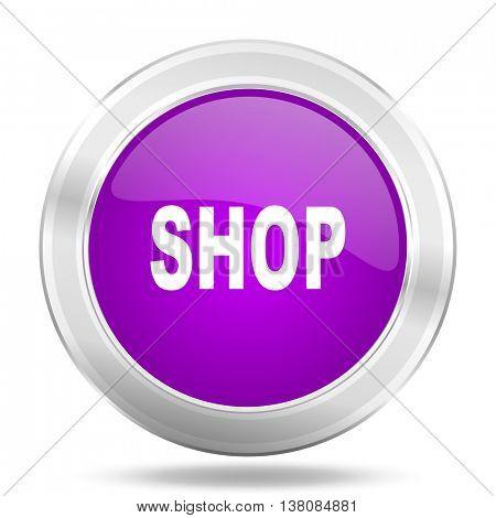 shop round glossy pink silver metallic icon, modern design web element