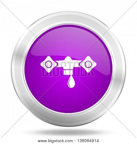 water round glossy pink silver metallic icon, modern design web element