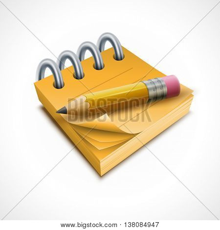 Vector illustration of pencil and notepad. Elements are layered separately in vector file.