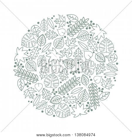 Vector round texture with various leaf icons.
