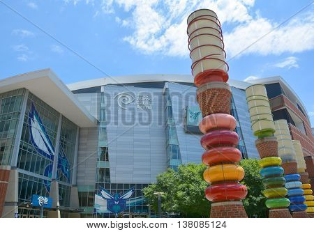 CHARLOTTE SOUTH CAROLINA 06 24 2016: Time Warner Cable Arena is an entertainment and sports venue located in center city Charlotte, North Carolina. operated by the Charlotte Hornets of the NBA.