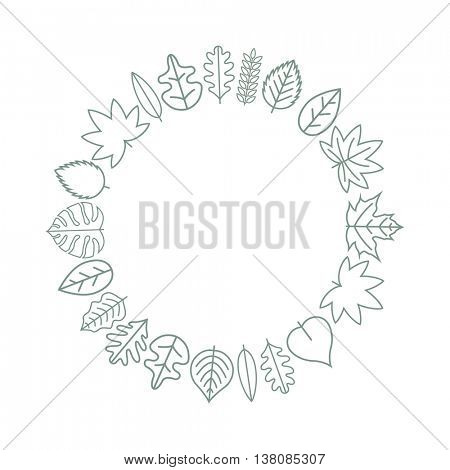 Vector texture and frame with various leaf icons.