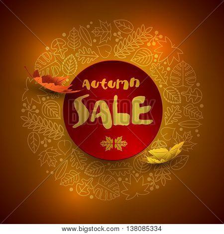 Vector autumn sale design with leaf icon frame.