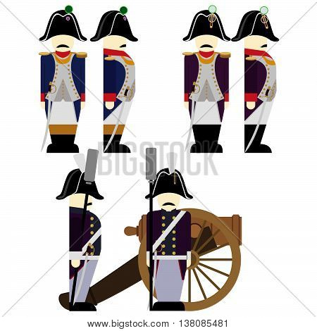 French Army soldiers in uniforms and weapons were used in the 1812 war. The illustration on a white background. poster