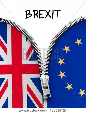 Zipper dividing UK and EU in a Brexit concept. Vector.