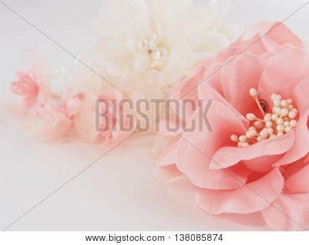 Pink and white Corsage  on white background