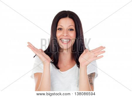 Young brunette woman excited, throwing up hands isolated on white background.