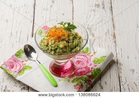 cream with avocado and carrots