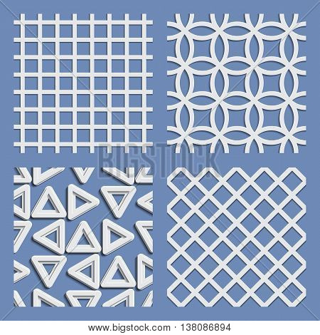 Seamless pattern set paper cutout style with shadows. Vector illustration.