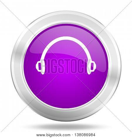 headphones round glossy pink silver metallic icon, modern design web element