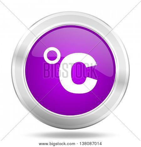 celsius round glossy pink silver metallic icon, modern design web element