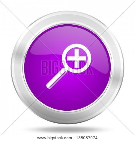lens round glossy pink silver metallic icon, modern design web element
