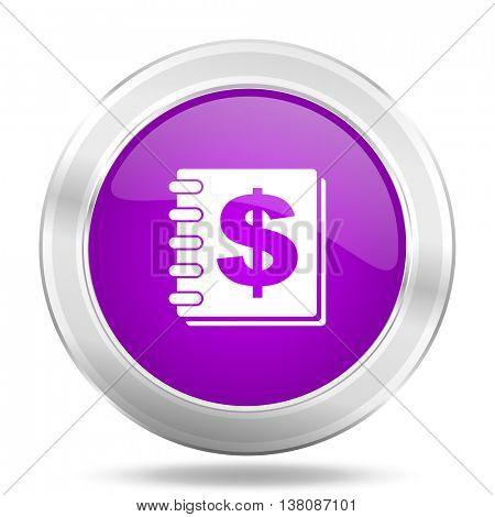 money round glossy pink silver metallic icon, modern design web element