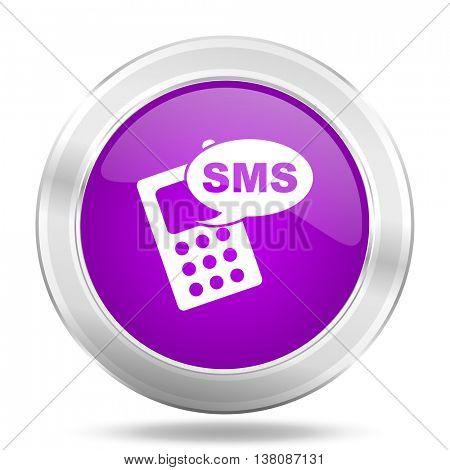 sms round glossy pink silver metallic icon, modern design web element
