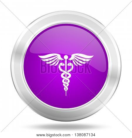 emergency round glossy pink silver metallic icon, modern design web element