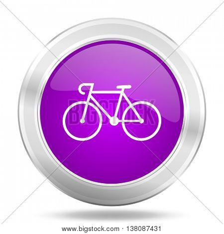 bicycle round glossy pink silver metallic icon, modern design web element