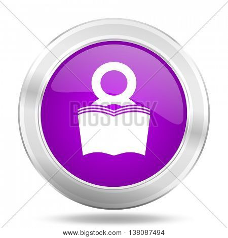 book round glossy pink silver metallic icon, modern design web element