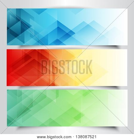 Collection of modern banners with abstract low poly design