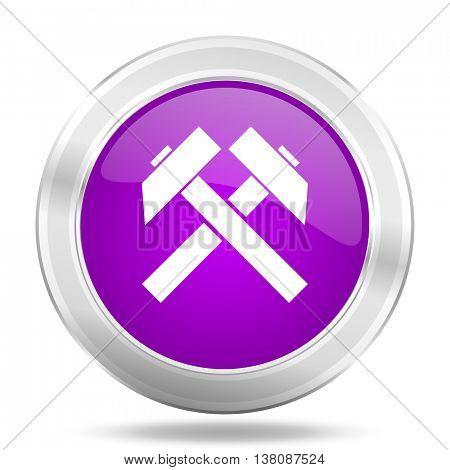 mining round glossy pink silver metallic icon, modern design web element