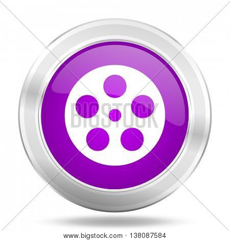 film round glossy pink silver metallic icon, modern design web element