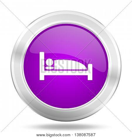 hotel round glossy pink silver metallic icon, modern design web element