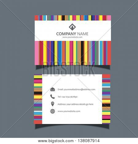 Business card template with a retro lines design