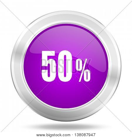 50 percent round glossy pink silver metallic icon, modern design web element