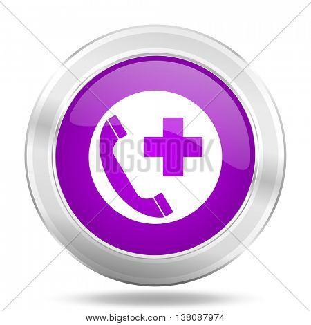 emergency call round glossy pink silver metallic icon, modern design web element