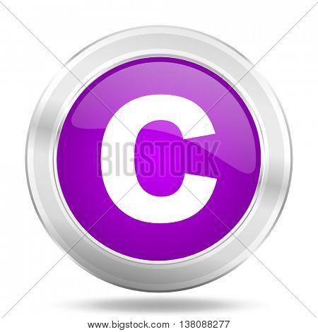 copyright round glossy pink silver metallic icon, modern design web element