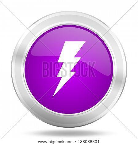 bolt round glossy pink silver metallic icon, modern design web element