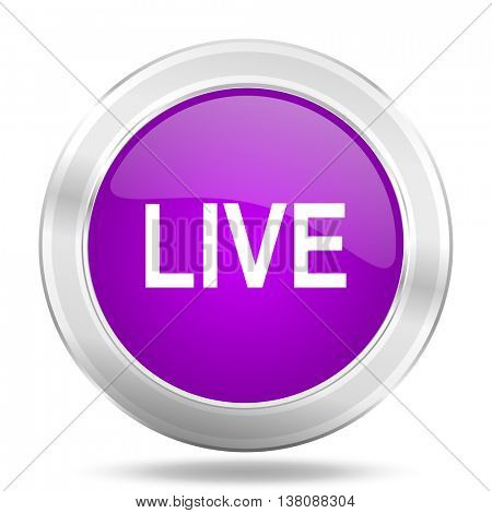 live round glossy pink silver metallic icon, modern design web element