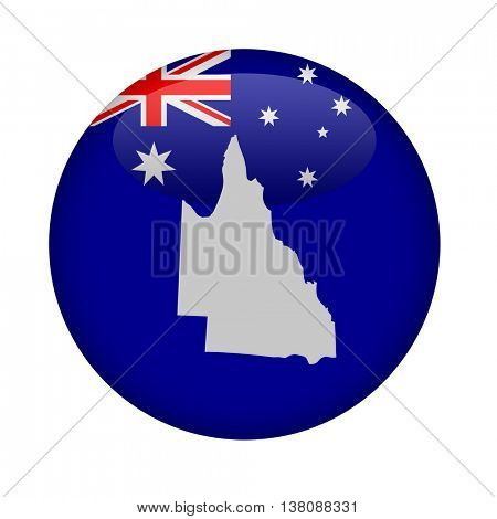 Australia state of Queensland map button on a white background.