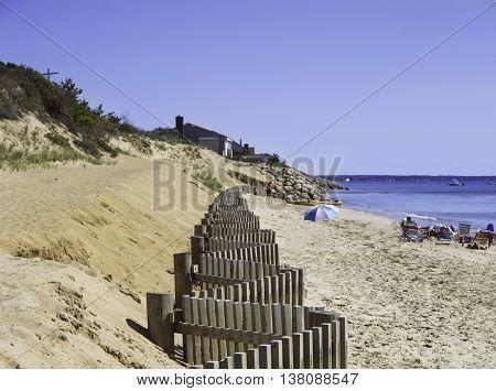 Beach fence on a beach in Eastham, MA Cape Cod.