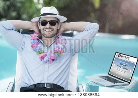 Composite image of build website interface against smart man wearing garland while relaxing in sun lounger