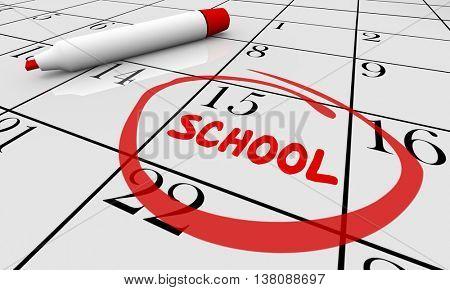 Back to School Day Date Education Training Calendar 3d Illustration