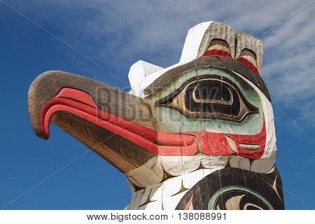 Detail of Carved Totem Pole in Alaska.