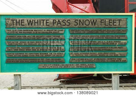 Information board for The White Pass Snow Fleet in Skagway Alaska USA